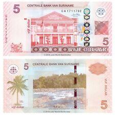 Suriname 5 Dollars 2010 P-162c Banknotes UNC