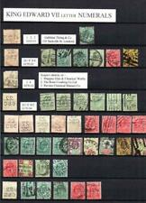 COLLECTION OF EDWARD VII PERFINS ON DOUBLE SIDED PAGE (NUMERALS & MONOGRAMS)