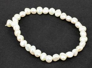 echte Perlen Armband Süßwasserzuchtperlen Zuchtperlen Armband Damen 18cm weiß