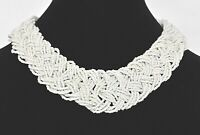 """Vintage Large Statement Seed Beaded Braided Necklace Estate Jewelry 18"""" x 1 1/4"""""""