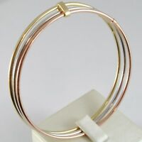 TRIPLE 18K ROSE YELLOW WHITE GOLD BANGLE RIGID BRACELET, SMOOTH, MADE IN ITALY