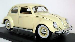 Maisto 1/18 Scale - 1955 Volkswagen Kafer Beetle Cream Diecast Model Car