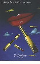 PUBLICITE ADVERTISING 1980  YVES SAINT LAURENT le rouge brille sur vos lèvres