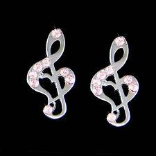 w Swarovski Crystal Pink Treble g Clef Heart Music Note Musical Jewelry Earrings