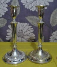 VINTAGE  MADE IN ENGLAND PAIR Of SILVER COLOUR METAL CANDLESTICKS 10'' TALL