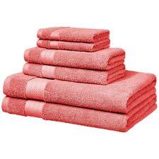 AmazonBasics Performance Bath Towels, 6 Piece Set, Coral Pink