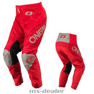 2021 O'Neal Matrix Ridewear Rot Grau Hose Pant Motocross Enduro Quad MTB BMX