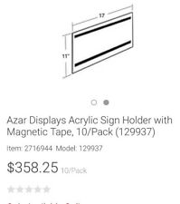 10 Clear Acrylic 11 x 17 Wall mount sign holders display frames w magnets