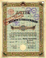 Bremer Straßenbahn Bremen historische Aktie 1899 BSAG Tram Bus Nahverkehr ÖPNV
