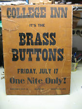 THE BRASS BUTTONS POSTER @ COLLEGE  INN SARATOGA LAKE  VINTAGE  ORIGINAL