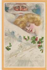 Christmas Postcard - Samuel L. Schmucker Sleeping Woman Santa Claus Watches
