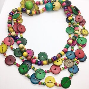 Colorful Multi Strand Natural Coconut Shell Wood Layered String Necklace Handmde