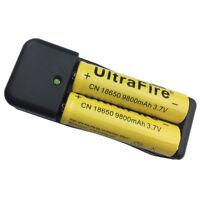 2X 18650 Batterie 9800mAh 3.7V Li-ion Rechargeable Battery&4.2V EU Plug Chargeur