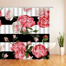 Nice Rose Floral Bold Black White Striped Waterproof Fabric Shower Curtain