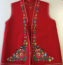 Woman's Vest Matyo Embroidered Flowers Wool Vintage Handmade Hungary Red M Long