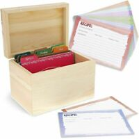 "Unfinished Wood Recipe Box for DIY Crafts with Cards & Dividers,7.2""x 5""x 4.7"""