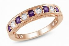 Amethyst Half Eternity Ring 18ct Rose Gold/925 Silver Love Mum Wife Gift For Her