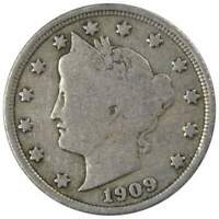 1909 Liberty Head V Nickel 5 Cent Piece AG About Good 5c US Coin Collectible