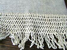 "Ecru Crochet Linen? VTG Fringed Window Panel Cafe Curtain Valance 94"" W x 16"" L"