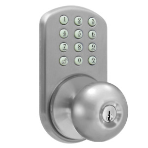 Keyless Satin Nickel Entry Door Knob w/ Electronic Glow in the Dark Keypad Lock