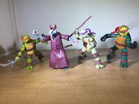 4 Teenage Mutant Ninja Turtles 2012 Viacom Figure Lot Mike Raphael Don Splinter