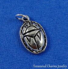 Silver SCARAB CHARM 3D Beetle Ancient Egyptian Amulet Talisman PENDANT *NEW*