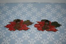 Vintage Pair Of Cast Iron Christmas Poinsettia Candle Holders Pat'd 10-31-22