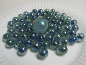Lot Of 64 Vintage Clear Color Swirls Glass Marbles & Shooter - Cat's Eye/Ribbon