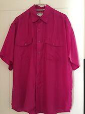 100% Pure Silk Men's Pink ? Short Sleeves Shirt Size L Brand New