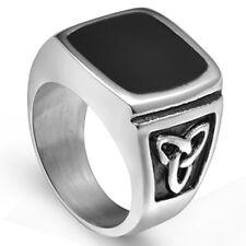 Size 7-15 Stainless Steel Black Onyx Signet Ring Wedding Celtic Knot irish Party