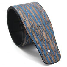 New Strap P&p - Imitation Leather - 6,5cm - Design Wood Wallpaper - Guitar &