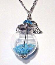 BLUE FAIRY DUST WISHING JAR NECKLACE glass orb bottle pendant star glitter R6