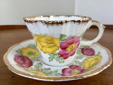 ICELAND POPPY Teacup & Saucer SALISBURY Bone China ~  Yellow & Pink/Red Florals