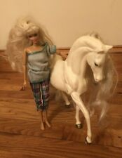 Barbie horse with Barbie 1990's white with gold speckles in tail and mane