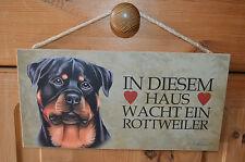 Türschild Tierschild Schild Tafel Holzschild Deko Bild Wandbild Rottweiler Hund