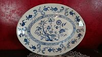 "Oval Platter Plate Blue & White Onion Pattern Inner Band Marked USA 12.75"" VTG"