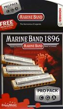 HOHNER MARINE BAND HARMONICA 1896 3 PIECE PRO PACK KEYS C, G & A MADE IN GERMANY