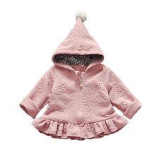 New Girls Long Sleeves Hooded Coat in Red Dark Pink 18-24 Months 2 3 4 5 Years