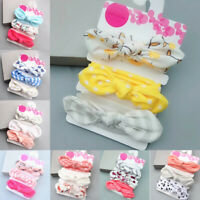 3Pcs Newborn Headband Cotton Elastic Baby Girls Bow Knot Print Floral Hair Band