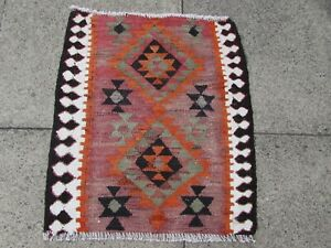 Fragment Vintage Traditional Hand Made Oriental Wool Pink Small Kilim 68x57cm