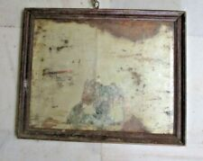 1850'S OLD ANTIQUE WOODEN THICK FRAMED WALL HANGING DRESSING BELGIUM MIRROR