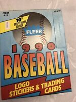 (2) Case Fresh 1990 Fleer Baseball Wax Box w/ 36 Factory Sealed Wax Packs (72)!!