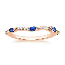 0.25 Ct Natural Diamond Blue Sapphire Engagement Ring 14K Solid Rose Gold Band