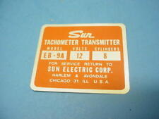 "Vintage ""SUN TACHOMETER TRANSMITTER LABEL TAG"" MODEL EB-9A--12Volts--8Cylinders"