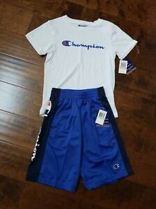 Champion Shirt and Short 2-Piece Set Size 6 Gray//Blue