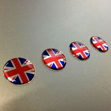 Domed Resin Gel - UNION JACK Stickers x 4 20MM DIAMETER Exterior Use