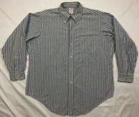 Vtg Brooks Brothers Makers Men Blue Striped L/S Button Down Dress Shirt Sz 17 A8