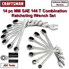 NEW CRAFTSMAN 14 PC 144 POSITION MM SAE RATCHETING COMBINATION WRENCH SET 10