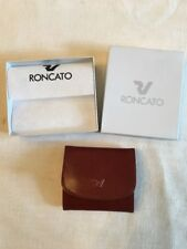 Valigeria Roncato Unisex Brown Leather Change Credit Card Purse Wallet w/Box