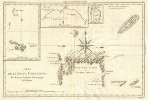 Isles de la Reine Charlotte. Nendo, Santa Cruz, Solomon Islands. BONNE 1790 map